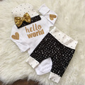 2016 ins baby girl boy clothing set cotton long sleeve T shirt pants caps 3pcs Infant
