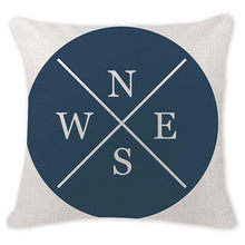 Индивидуальный чехол для подушки s с рисунком голубого морского компаса, чехол для подушки с рисунком якоря, морской корабль, чехол для поду...(Китай)
