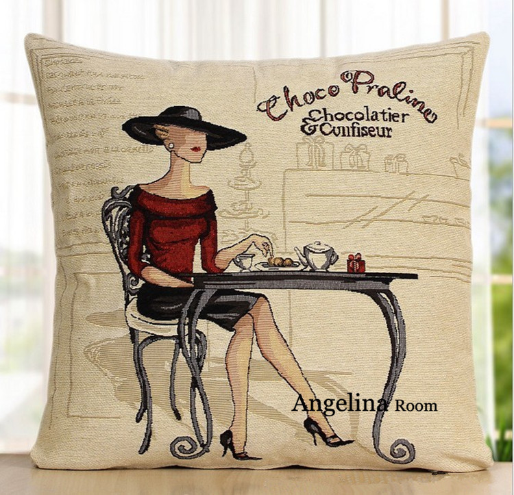 home textile decorative sofa pillow covers/2 pieces/lot cartoon printed linen cushion covers luxury part/wedding gifts