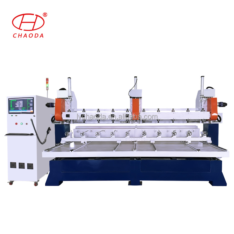 Factory price 5 axis six eight ten heads rotary cnc wooden staircase handrail making machine