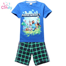 New 2015 brand cartoon children clothing set plaid kids shorts + t shirts 2pcs boys sport suit set fit for 3-14year