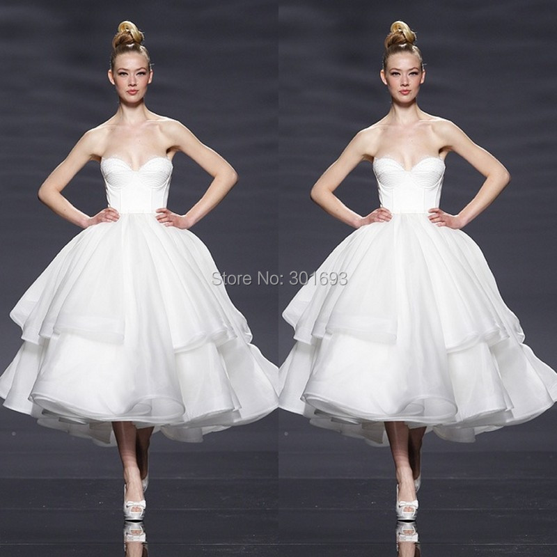 Vintage Wedding Dresses 50s 60s: Oumeiya OMW123 Organza Sweetheart Mid Calf Length 50S Or