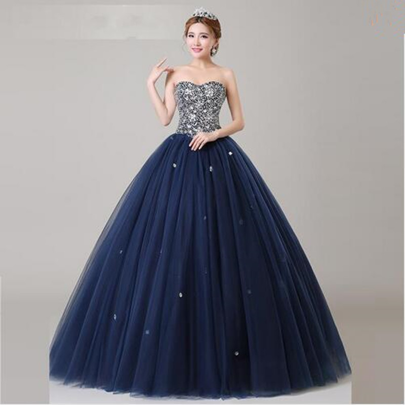 Navy blue Crystals Quinceanera Dresses Ball gown Backless ...