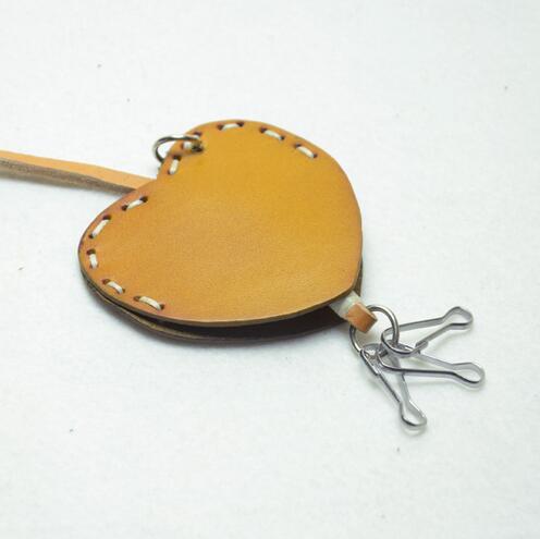 Мода милый стиль сердце форма натуральная кожа брелок держатель