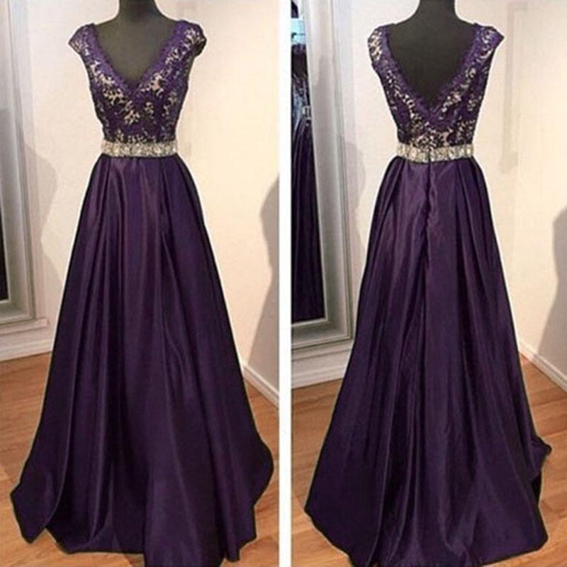 2016 Dark Purple Evening Dresses V Neck Beaded Evening ...