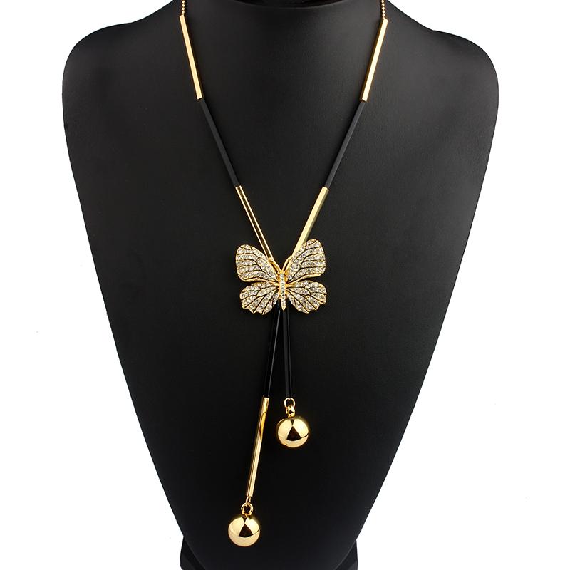 Элегантный бабочка длинные бисером цепи кисточкой ожерелье женщин горный хрусталь офис леди аксессуар богемия костюмы ювелирных изделий бижутерии