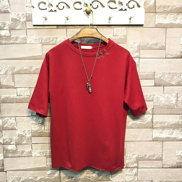 Китайская Фабрика одежды, летняя OEM американская Повседневная Свободная Мужская футболка большого размера с круглым вырезом и коротким рукавом с кольцами на шее