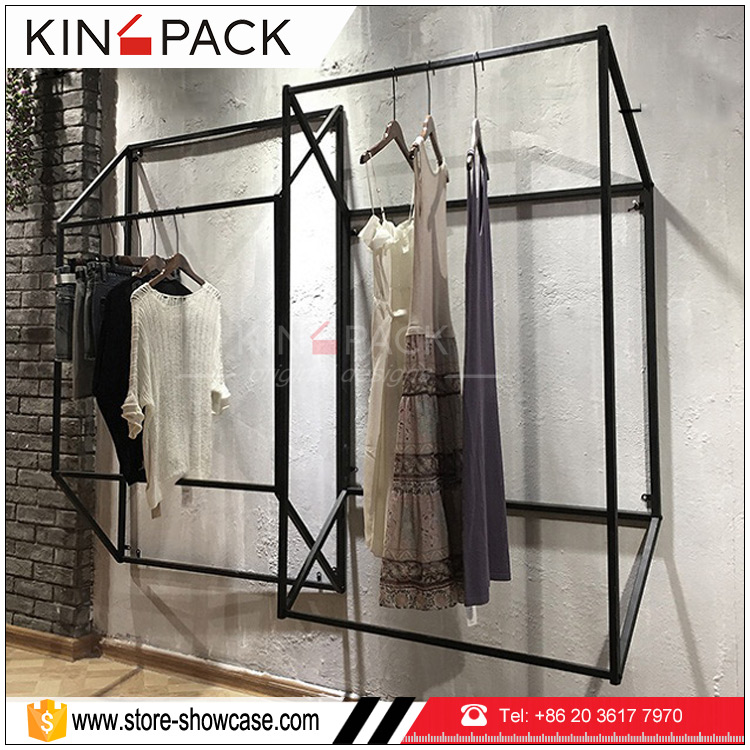 Black Mental Hanging On The Wall Clothes Hanger Rack Display Ideas For Clothing Shop Interior Design Buy Clothes Hanger Rack Clothing Display Ideas Clothing Shop Interior Design Product On Alibaba Com