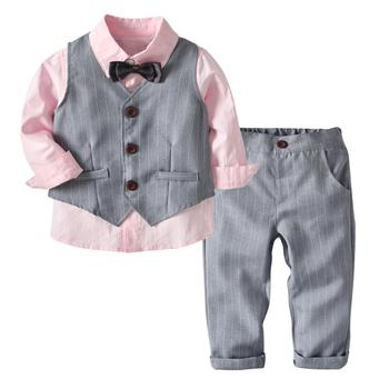 New design Boys clothing set kids winter 3 pieces sets baby clothes for kids 1-7 years 19B122
