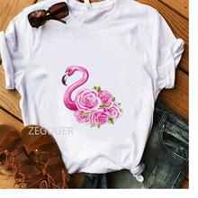 Летняя футболка для девочек с розовым цветком и лебедем, модная женская футболка, белые хлопковые мягкие повседневные футболки, женские эст...(Китай)