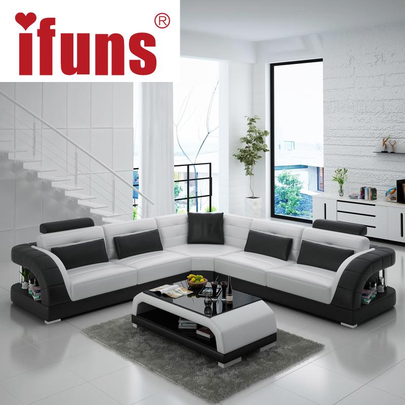 Relax Contemporary Italian Corner Sofa In Cream Leather: IFUNS China Export Modern Design L Shape Sectional Sofa