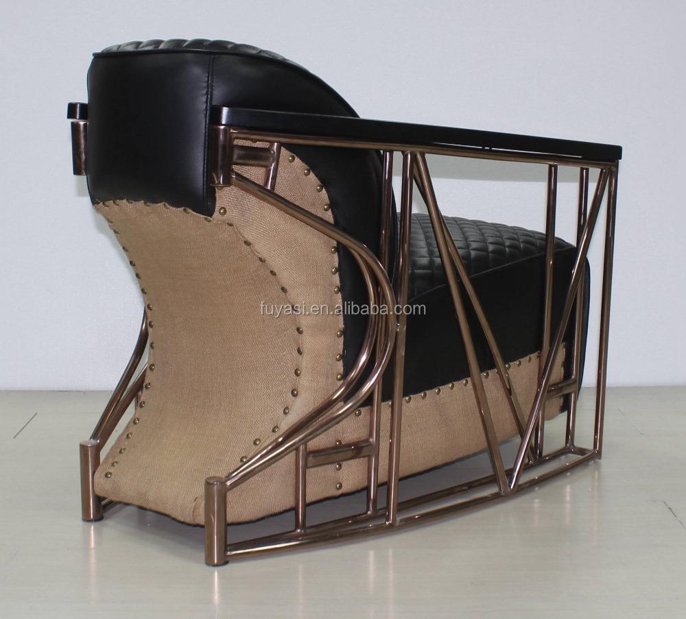 Living Room Sofa Wood Frame Stainless Steel Armrest Sofa