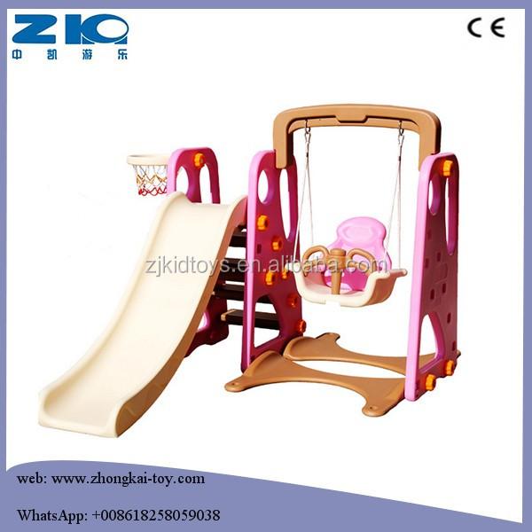 Цветная многофункциональная прямая пластиковая детская комбинированная Горка 3 в 1 с комплектом качелей для детей