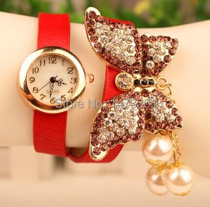 Женщины бабочка браслет часы полный кристалл горный хрусталь платье часы женщины кварцевый до запястья часы девочка подарок