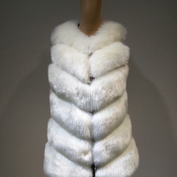 Fashion white black green faux fur vest for autumn winter