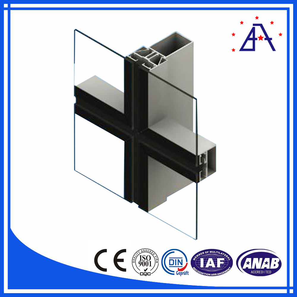 Steel Structure Aluminum Extrusion Curtain Wall Profile