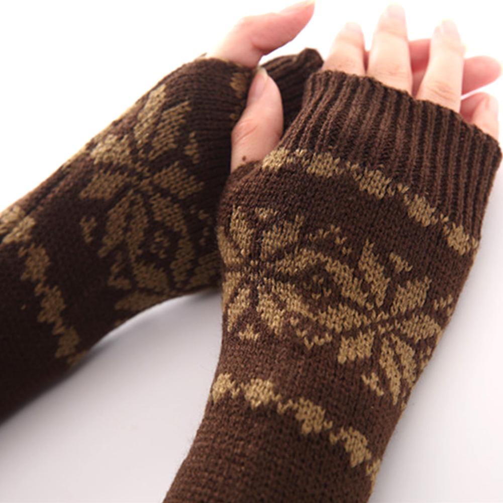 Mädchen Arm Winter Handschuhe Lange Geschenk Warme Fingerless Für Frauen Schnee Muster Stricken Armstulpen