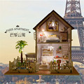 New Assembling DIY Miniature Model Kit Wooden Doll House With Furnitures music light Paris apartment dollhouse