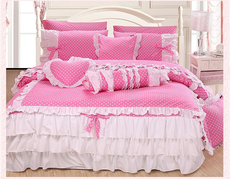 popular pink polka dot comforter buy cheap pink polka dot comforter lots from china pink polka. Black Bedroom Furniture Sets. Home Design Ideas