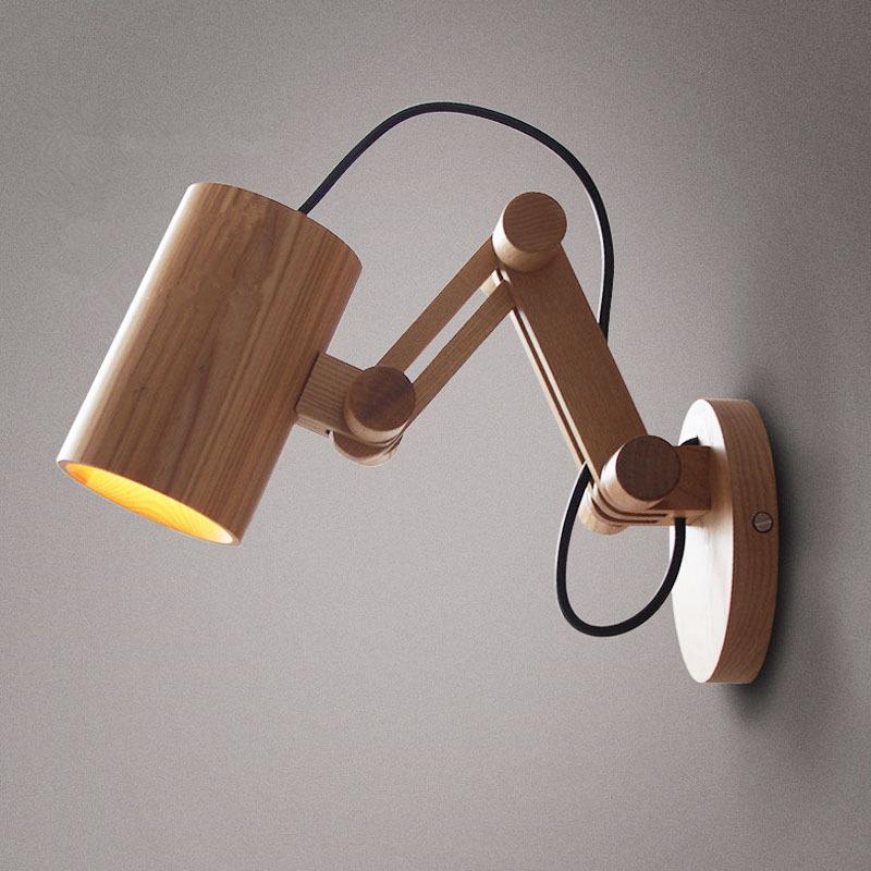 ch ne moderne mur en bois lampe lumi res pour chambre clairage applique murale en bois massif. Black Bedroom Furniture Sets. Home Design Ideas
