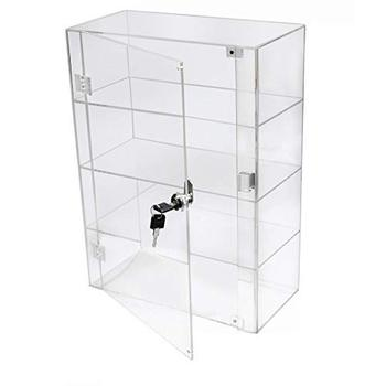 Fashion custom clear 3 tiered acrylic display case display box with lock wholesale