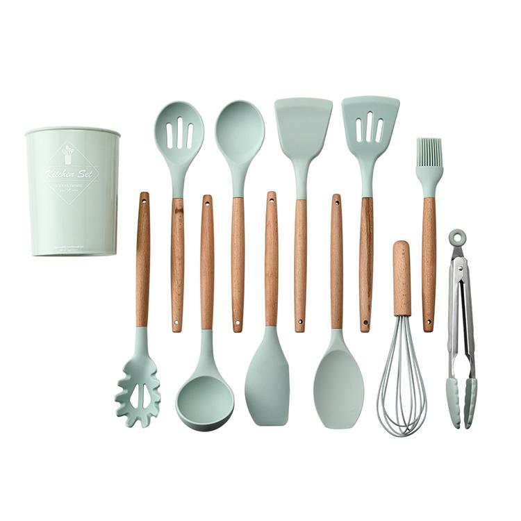 11 шт. набор силиконовой посуды для кухни с деревянной ручкой с антипригарным покрытием ложка шпатель щипцы для очистки от кожуры Cocina кухонная утварь <a href=