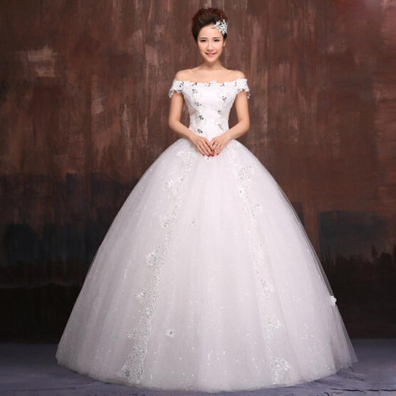 Cheap Plus Size Ball Gown Wedding Dresses: Vestido De Noiva Princess Appliqued Beaded Ball Gown