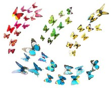 12 Pcs/Lot PVC 3D Butterfly Wall Stickers Decals Home Decor Poster for Kids Rooms Adhesive to Wall Decoration Adesivo De Parede