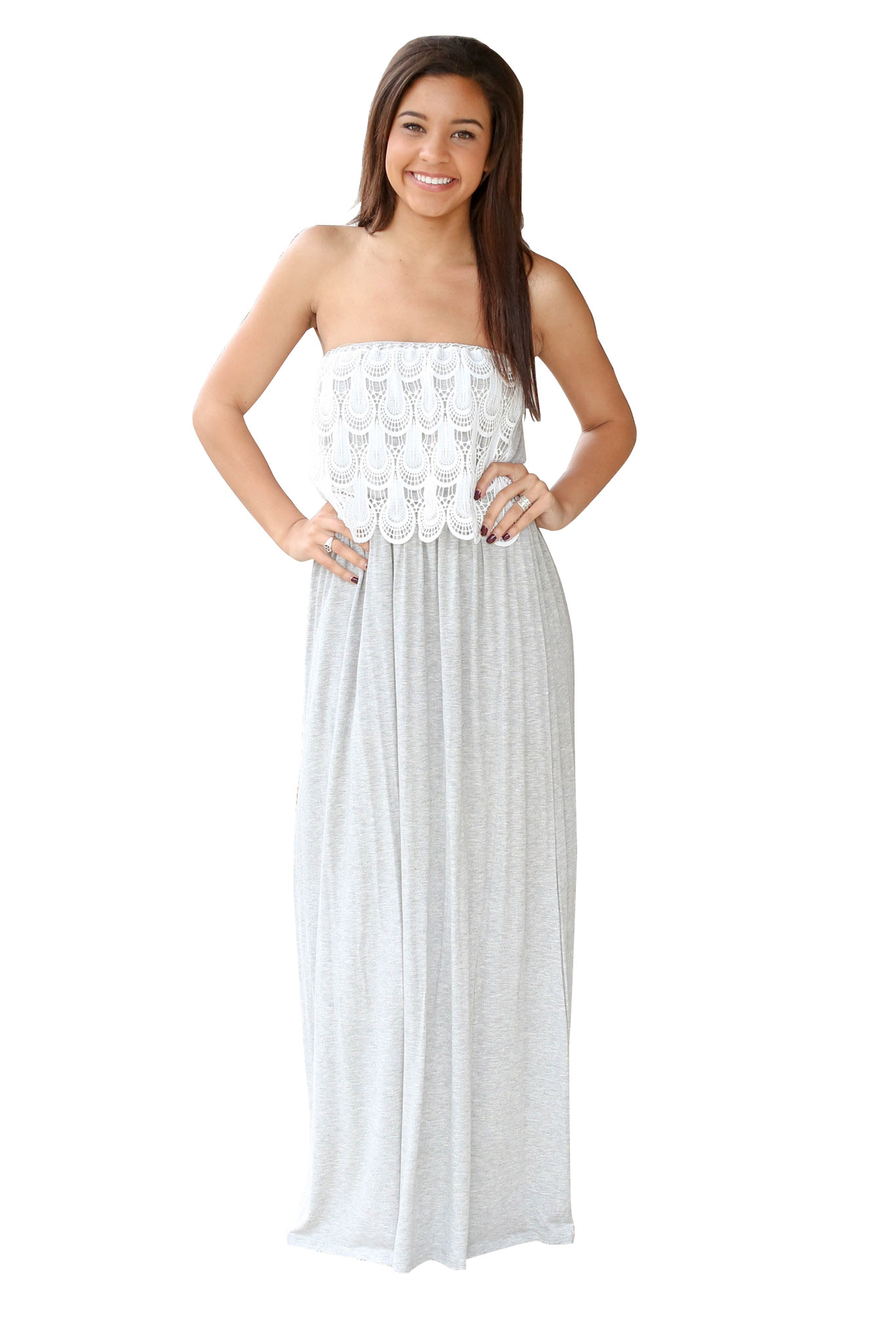 Strapless White Lace Summer Style Summer Maxi Dress Long ...