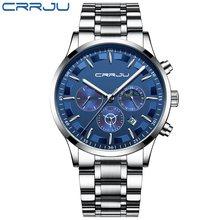 Мужские часы CRRJU Топ бренд класса люкс Спортивные кварцевые все стальные мужские часы Военные кемпинг водонепроницаемый хронограф Relogio ...(Китай)