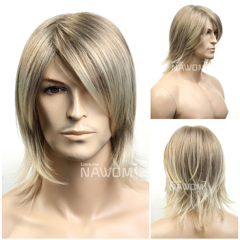 Hot Short Blonde Straight Hair Wig For Men Party Cosplay Halloween Wigs Handsome Cool Men Boy