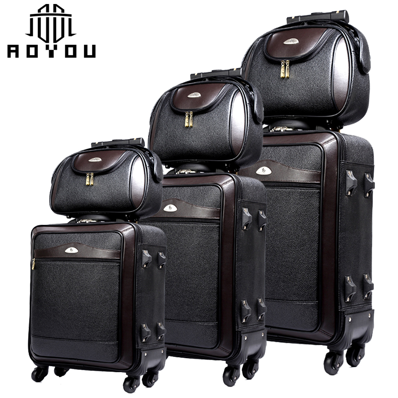 2pcs 20 24inch black business luggage sets men suitcases with bag