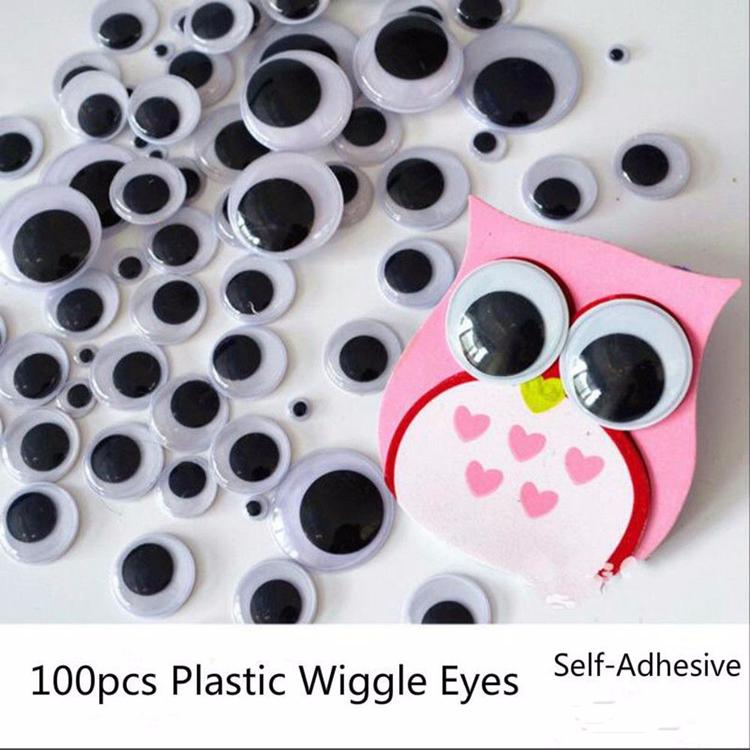 100 шт., самоклеящиеся пластиковые очки для кукол, 6-15 мм
