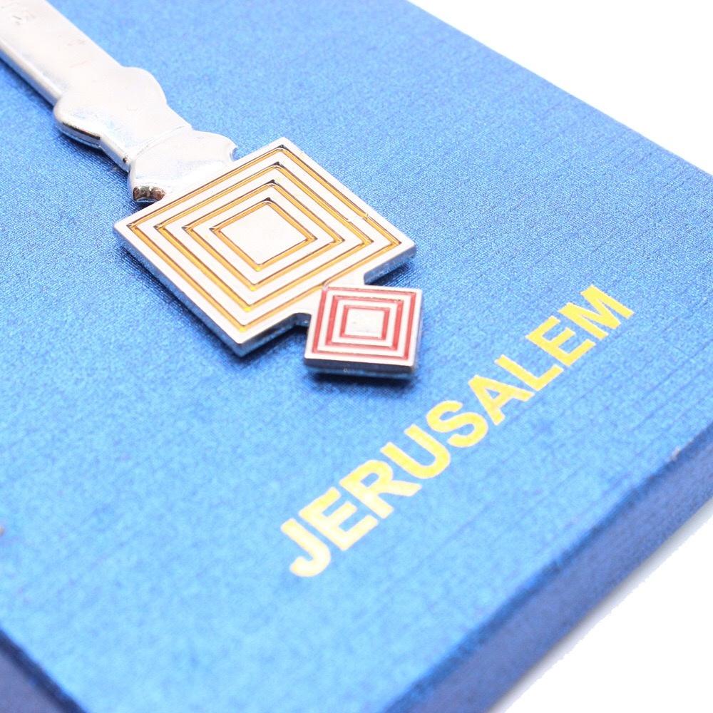 Hand-held cross JERUSALEM Israel Catholic religious prayer ceremony supplies + blue box