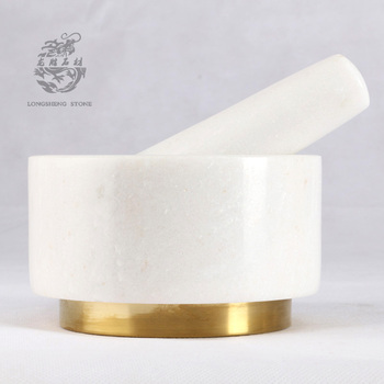 natrual white marble stone mortar and pestle set with metal base