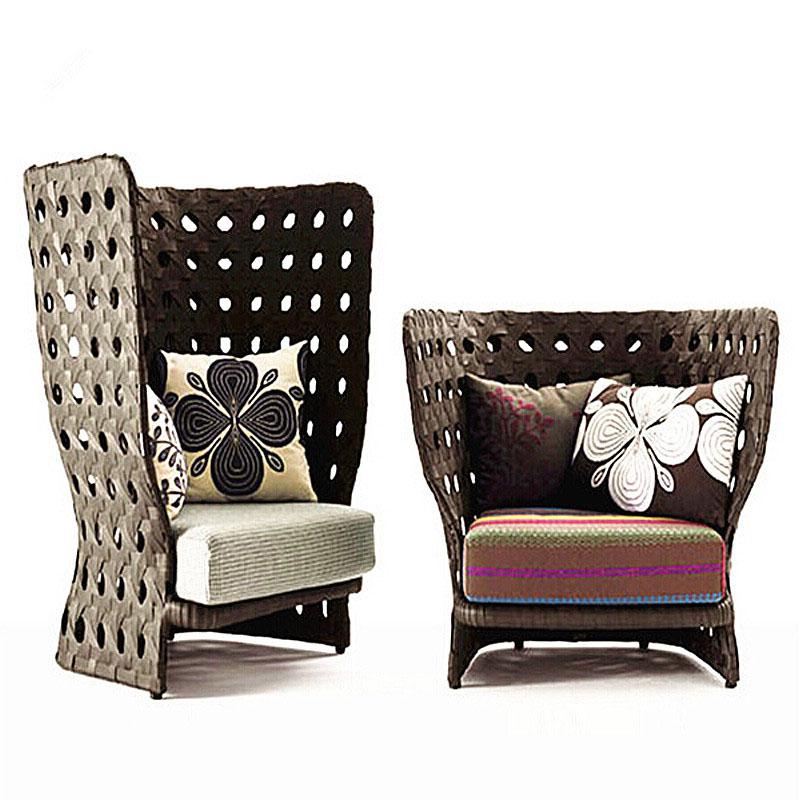 Уличная мебель во французском стиле с высокой спинкой, садовый белый диван из ротанга, набор мебели