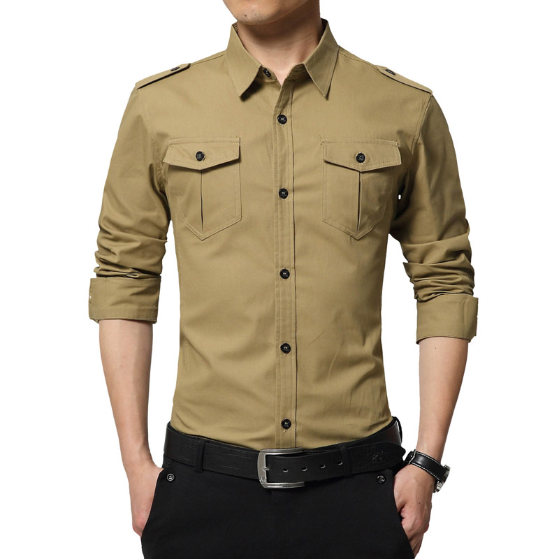 4a306587 2016 New Brand Military Style Mens Shirts Casual Pocket Design Men Blouse  100 Cotton Breathable Shirts