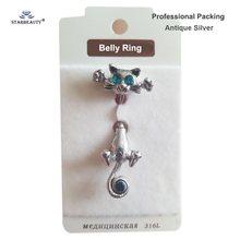 Черное кошевое кольцо для пирсинга пупка Ombligo, синее Кристальное кольцо для пирсинга живота, Колечки для пупка, ювелирные изделия для тела, п...(Китай)