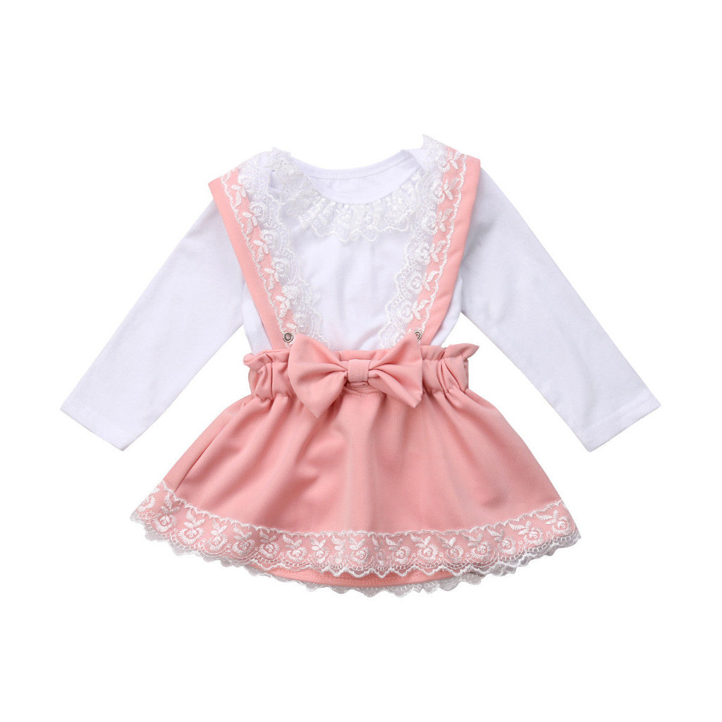Girl children lace hardy + strap bow skirt Set white lace long sleeve top  comfortable round collar Baby Girl Clothing  YL1 485eb0390039
