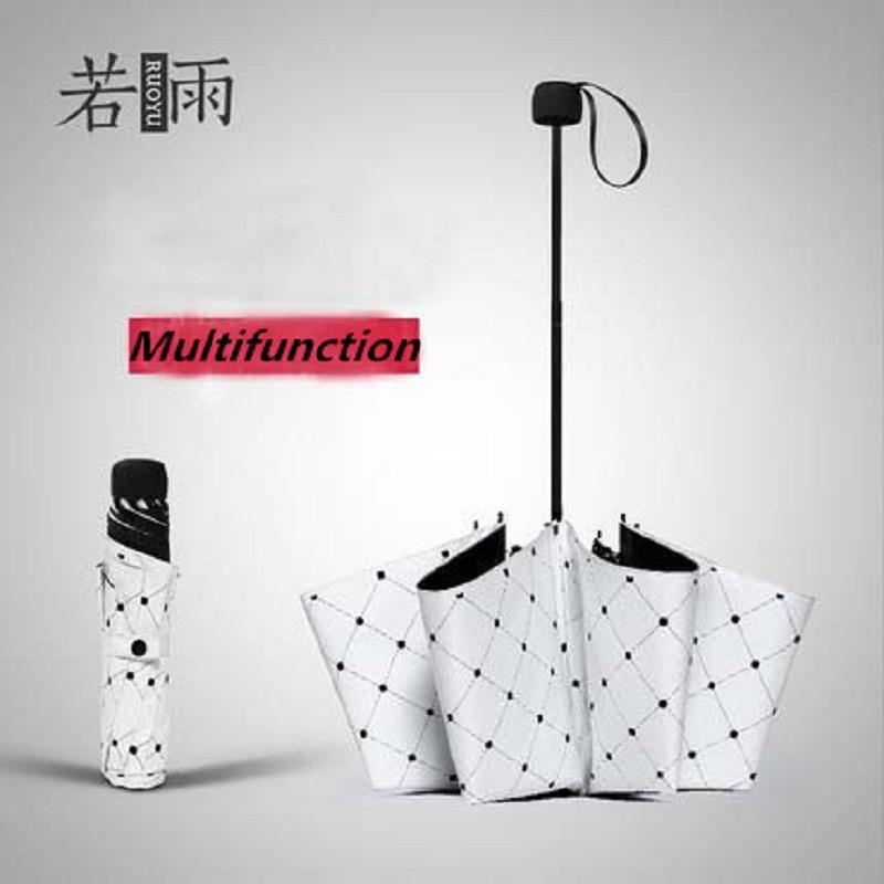 Новый 2016 творческая взрослых белые решетки многофункциональный складной зонтик анти-уф-зонтик дождь женщины зонтик