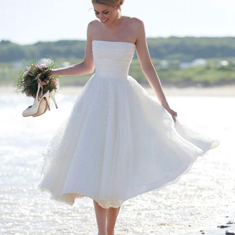 Romantic Short Wedding Dresses 2016 Beach Tea Length Robe