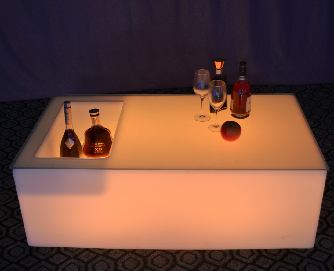 night club plastic led coffee table with ice bucket