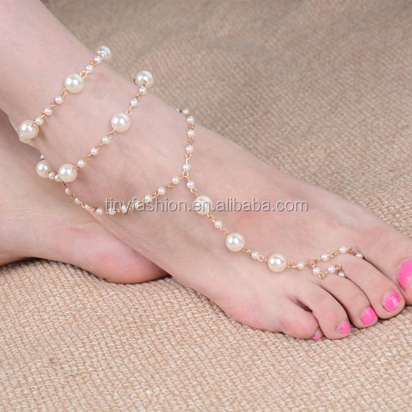 1 ШТ. Свадебные Босиком Сандалии Pearl Золото Многослойные Палец Кольцо Ножной Браслет Браслет Ног