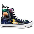 Wen Original Hand Painted Canvas Shoes Space Galaxy Tardis Doctor Who Man Woman s High Top