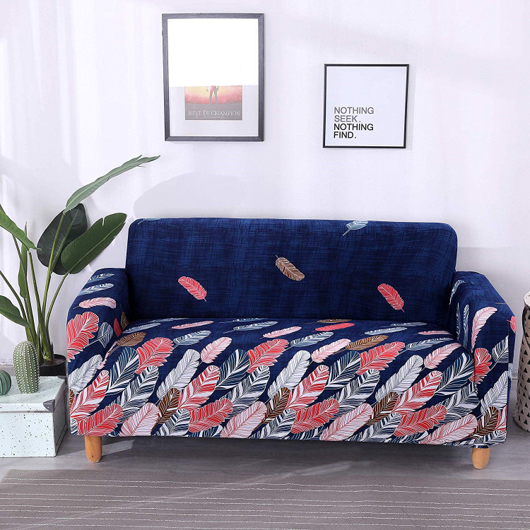 Colorful Leaves Printed Stretch Sofa Cover, Elastic Protector For Sofa, Slipcover Sofa Cover Waterproof