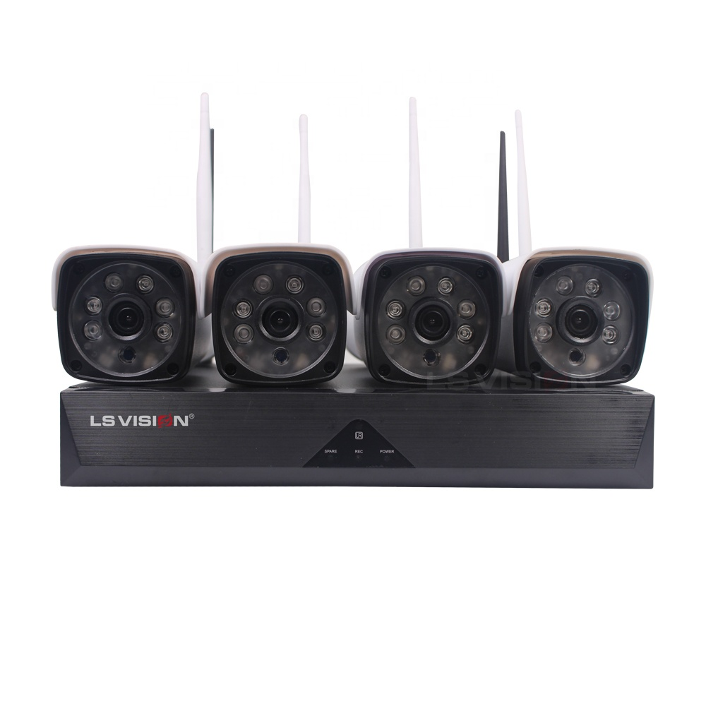 LS VISION H.265 2MP HD 1080P 4CH Waterproof IP66 Outdoor WIFI Wireless Bullt Security Camera Kit