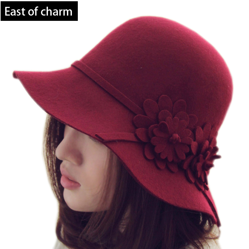 Wholesale Noble Wool Fedoras Hat For Women Berets Feather Stewardess ... c6f04a31244