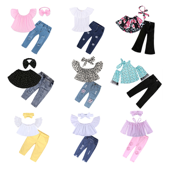New arrival ruffle off shoulder set boutique baby clothing children kids girl clothes