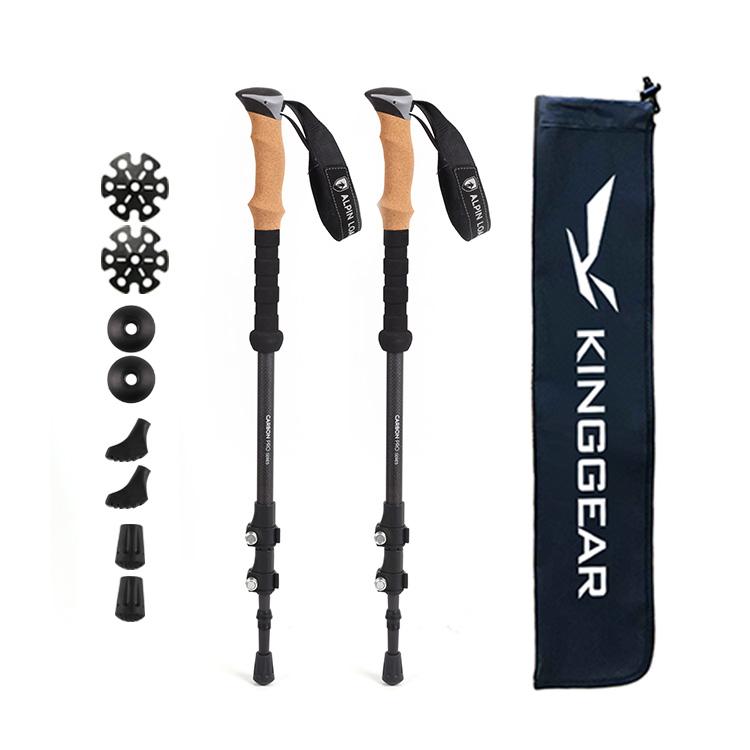 Античные скандинавские Телескопические Складные трекинговые палки из 100% углеродного волокна для самообороны