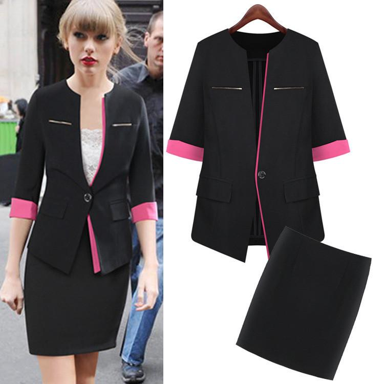 New Women Plus size Work Wear Suit coat skirt business ...